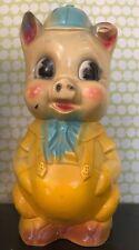 "Vintage 12"" Tall Yellow Pig Piggy Bank, Chalkware, Chalk Carnival Game Prize"