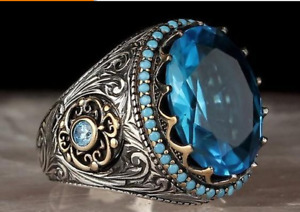 AU unisex Silver Plated Blue Green Oval stone Vintage Style Ring Jewelry gift