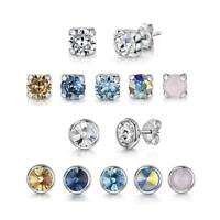 Amberta Sterling Silver Square and Bezel Earrings for Women Studs with Swarovski