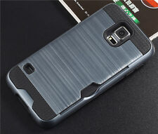 Shockproof Brushed Hybrid Rugged Hard Card Case Cover for Samsung Galaxy S5