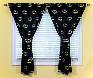 JPI DC Comics Batman Emblem Kids Bedroom Curtains and Tiebacks 4-Piece Set