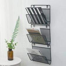 Triangle Wire Magazine Rack Wall Mounted Bookshelf Post Mails Bin Black