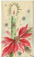VINTAGE CHRISTMAS SILVER GOLD GREEN PINK RED POINSETTIA SNOWFLAKE GREETING CARD