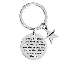 Quote Friendship Gift Best Friend Keyring Birthday Pendant Key Ring Star Charm