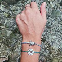 2pcs/set Adjustable Turtle Compass Sea Beach Holiday Yoga Bracelets Bangle S