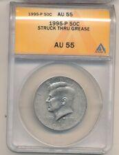 1995-P KENNEDY HALF DOLLAR-STRUCK THROUGH GREASE-ANACS AU55-GREAT ERROR!-AA634DC