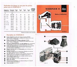 LEITZ VISOFLEX II Notice/Instructions/Anleitung  - 8 pages / Seiten  - 1960