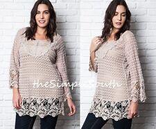 New UMGEE Blush Semi Sheer Lace Crochet Open Knit Long Shift Tunic Top Blouse XL