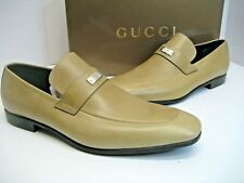 New GUCCI Mens US 11.5 UK 11 Caramel Leather Logo Silver Plate Loafers Shoes Box