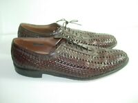 MENS BROWN LEATHER ALLEN EDMONDS WOVEN OXFORDS DRESS CASUAL SHOES SIZE 10.5 A N