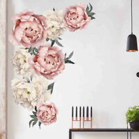 Peony Rose Flowers PVC Wall Sticker Art Nursery Decals Kids Room Home Decor Gift