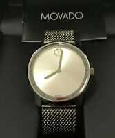 Movado 3600260 Unisex Swiss Bold Stainless Steel Mesh Bracelet Watch 44mm NEW