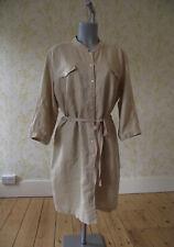 LAURA ASHLEY beige pure linen button through belted shirt dress UK 18 3/4 sleeve