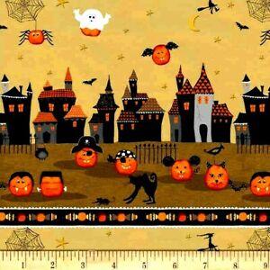 Halloween Pumpkins Fabric Fat Quarter Cotton Craft Quilting Cheekyville Stripe