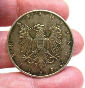 "STERLING SILVER HEILBRONN STADT GERMANY COIN TOKEN VINTAGE 1""   11.2 GRAMS"