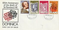 DOMINICA 1979 ROWLAND HILL CENTENARY ALL 4 COMMEMORATIVE STAMPS FIRST DAY COVERa