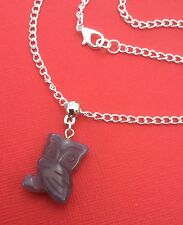 NEW! Grey Agate Gemstone Owl Pendant Necklace - Protection - Aussie Seller!