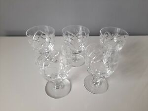 5 x Unmarked Crystal Wine Glasses - Good Condition