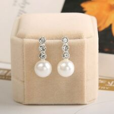 Lovely Bridal/Bridesmaid Faux Pearl Crystal Cubic Zirconia Drop Wedding Earrings
