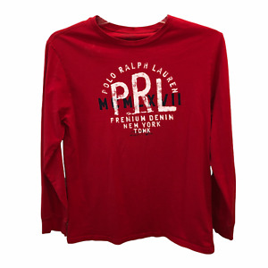 Polo Ralph Lauren Boys Size XL Red Long Sleeve Pullover Graphic T Shirt Tee Top