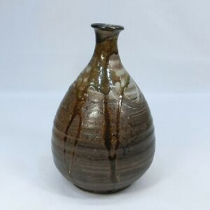 A912: Really old Japanese TANBA stoneware BIG bottle as vase with good glaze.