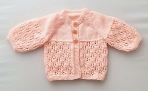 0-3m Baby Girls Hand Knitted 4ply Matinee Coat Peach Cardigan Spring Summer