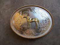 HORSE engraved Montana SIlversmiths western rodeo championship belt buckle