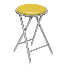 Yellow Round Folding Kitchen Breakfast Bar Stool Chair Silver Frame Comfort Seat