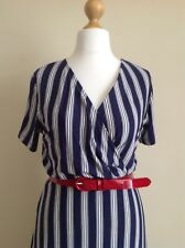 Cotton Traders Womans Navy And White Stripped V Neck Dress. Size 10.