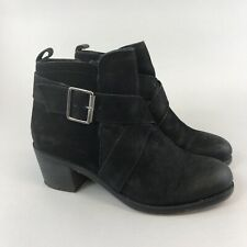 Fat Face Size 38 UK5 Black Leather Ankle Suede Zip Buckle Heeled Booties Boots