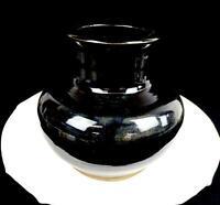 """ASIAN ANTIQUE ART POTTERY WHEELTHROWN SLIP GLAZE BLACK LARGE 7"""" VASE"""