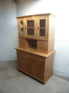 A Beautifully Waxed Antique/Old Pine 3 Door 6 Spice Drawer Kitchen Dresser