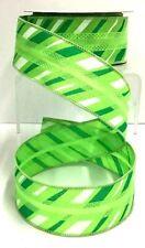 "Stripe Fabric Wired Ribbon~Green Tones, White~1 1/2"" W x 10 yd"