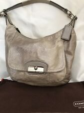 Coach 19299 Kristin Patent Leather Convertible Hobo Shoulder Bag (Silver Gray
