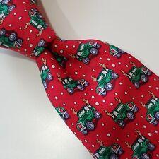 A3) NEW Vineyard Vines Boys Kids Red Truck with Antlers 100% Silk Necktie