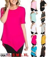 USA Women Round Neck Asymmetrical Hem Tunic Top Short Sleeve T-Shirt S M L XL