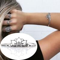 Newly Retro Bangle Boho Triangle Hollow Bracelet Cuff Silver Plated Jewelry New