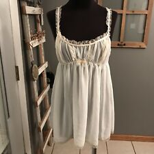 Victoria's Secret Vintage Baby Doll Cream Lace Negligee Night Gown Teddy M Euc