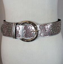 Women's Pink & Silver Shiny Metallic Studded Jeweled Retro Fashion Belt Size M