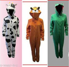 WOMENS ADULTS  ALL IN ONE JUMPSUIT. FLUFFY FLEECE. ANIMAL HOODED