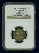 "FRANCE HENRI V ""PRETENDER"" 1831 SILVER FRANC COIN MINT STATE, CERTIFIED NGC MS65"