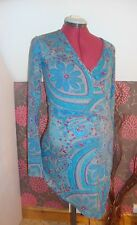 BNWT MATERNITY Asymmetric Teal Patterned Long Sleeved Wrap Top 12