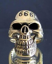 bronze ring BIKER - TETE DE MORT SKULL CLASSIC 666 (10,5) NEW !
