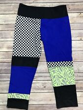 Onzie Hot Yoga Checkboard Mixed Pattern Crop Leggings Size M/L Medium/Large