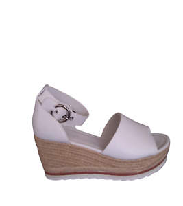 Marc Fisher Leather Espadrille Sandals Platform Strap White 8.5 Wide NEW!