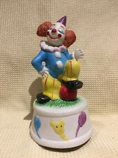 """Musical Ceramic Spinning 7"""" Clown Music Box Plays """"Farmer in the Dell"""""""