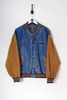 Vintage Men's College Denim Bomber Jacket Dark Blue (L)
