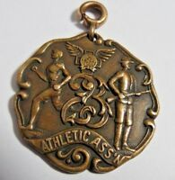 ANTIQUE BRONZE ATHLETIC MEDAL FOB MILITARY ASS'N DIEGES CLUST SPORT RIFLE