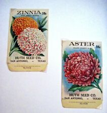 Lovely Vintage Seed Packets - Huth Seed Co.- Aster & Zinnia *