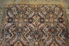 c1930s ANTIQUE SUPER DETAILED DESIGN PERSIAN QOME RUG 4.2x6.7 SOME SILK ACCENTS